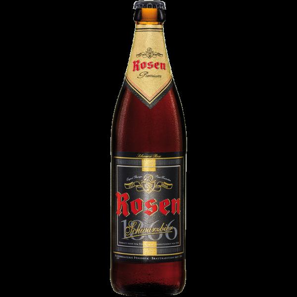 Schwarze Rose - Schwarzbier der Rosenbrauerei Pöneck in der 0,5l Flasche