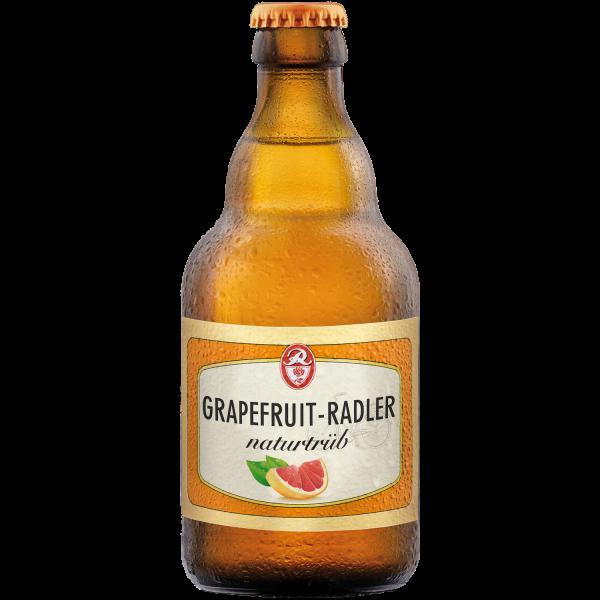 Rosen Radler Grapefruit naturtrüb - Bier-Mischgetränk der Rosenbrauerei Pößneck in der 0,33l Steiniflasche