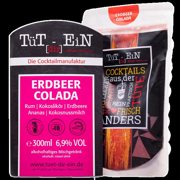 Erdbeer Colada - Cocktail mit Rum, Kokoslikör und Erdbeersaft von Tüt dir ein
